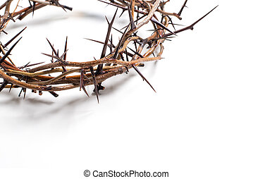 A crown of thorns on a white background - Easter. religion....