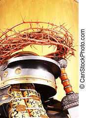 crown of thorns - A crown of thorns with a golden sign...