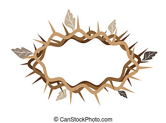 A Crown of Thorns with Dried Leaves - An Illustration Brown...