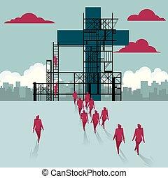 a, crucifixos, é, sob, construction., um, grupo, de, homens negócios, andado, para, a, predios, local.