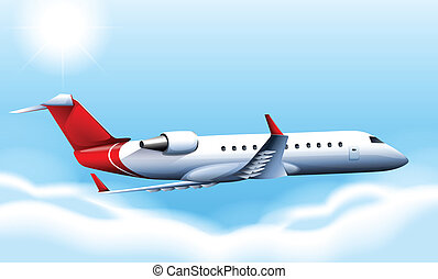 A cruising plane in the sky - Illustration of a cruising...