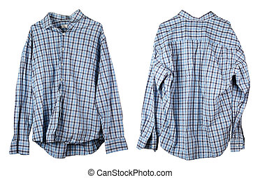 A crumpled old checkered blue man's shirt hangs on a hanger. V