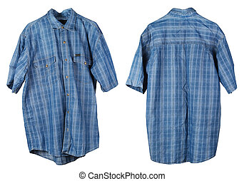 A crumpled old checkered cotton  blue man's shirt hangs on a hanger.