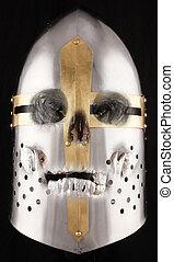 helmet - A crusader helmet with a silver human skull