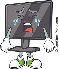 A crying computer screen mascot design style