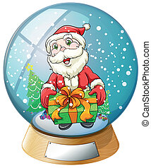 A crystal ball with Santa Claus inside
