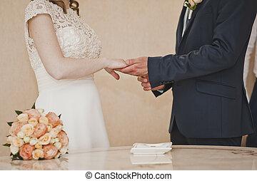 a, cserél, közül, esküvő gyűrű, 6669.