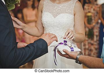 a, cserél, közül, esküvő gyűrű, 7658.
