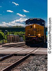 A CSX train approaching a road crossing in Brunswick, ...