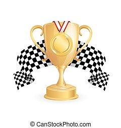 a cuadros, taza, medalla de oro, auto., bandera, vector, carreras