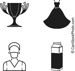 A cup, a wedding dress and other web icon in black style. a man in a mask, a package of milk icons in set collection.