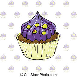 A cup cake with violet icing