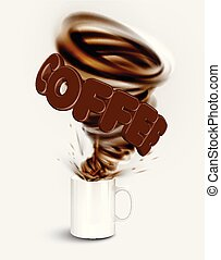 A cup of a realistic hot coffee with a huge whirl, vector