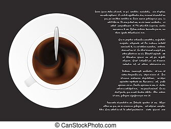 A cup of black coffee or chocolate from top view .Realistic isolated vector. Concept. Place for text