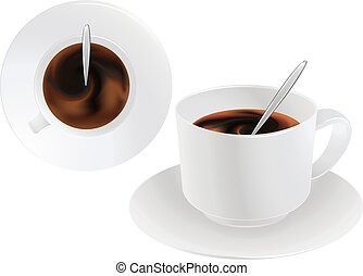 A cup of black coffee or chocolate. Front and top view. Realistic vector. Concept.