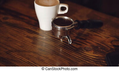 A cup of coffe on the table in cafe. 4K
