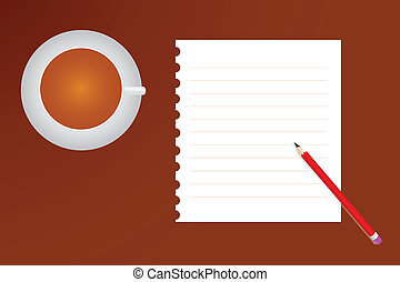 a Cup of Coffee and Notebook