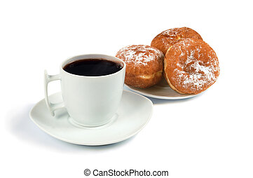 A cup of coffee and saucer with donuts on white