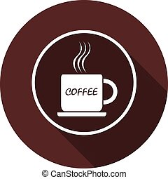 A cup of coffee icon with an inscription in the white contour of the circle. White flat image with a long shadow