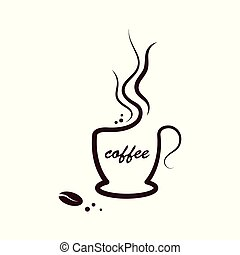 A cup of coffee in line with the coffee bean. Vector illustration on white isolated background