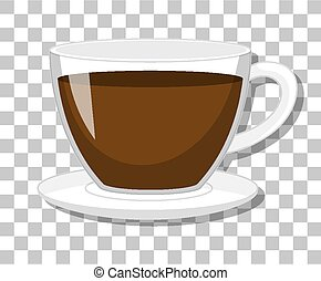 A cup of coffee isolated on transparent background