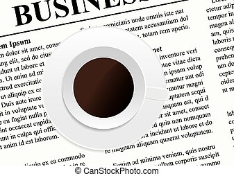 A cup of coffee on the newspaper