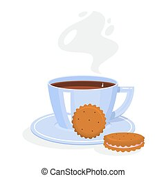 A cup of coffee or tea with tasty cookies