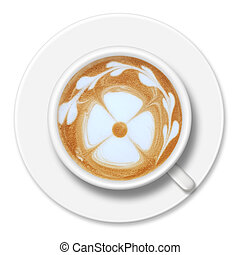 a cup of coffee top view isolated on white background