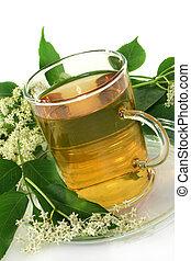 Elderflower tea - a cup of Elderflower tea with fresh...