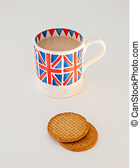 a cup of English tea and biscuits