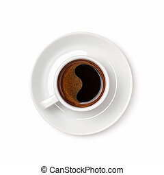 A cup of espresso coffee with saucer isolated on white.