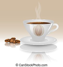 A cup of hot coffee on a beige background with realistic coffee beans.