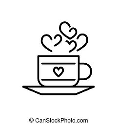 A cup of hot drink with hearts symbols. Thin linear vector icon. Outline design. Eps 10