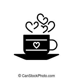 A cup of hot drink with hearts symbols. Thin linear vector icon. Solid design. Eps 10