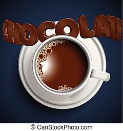 A cup of realistic hot chocolate, vector
