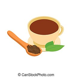 A cup of tea icon, isometric 3d style