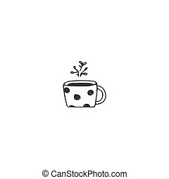 A cup of tea, kitchen logo element. Vector hand drawn object.