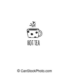 A cup of tea, kitchen logo template. Vector hand drawn object.