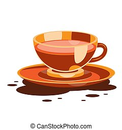 A Cup of tea on an isolated white background. Vector image