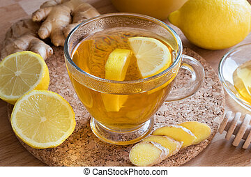 A cup of tea with ginger and lemon