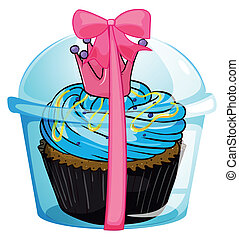 A cupcake container with a pink ribbon