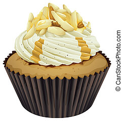 a cupcake - Illustration of an isolated cupcake on a white...