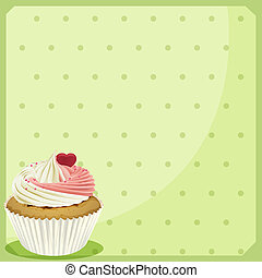 A cupcake in a green wallpaper