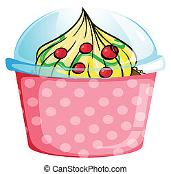 A cupcake inside a dotted pink container