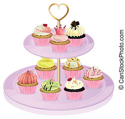 A cupcake stand with cupcakes - Illustration of a cupcake...