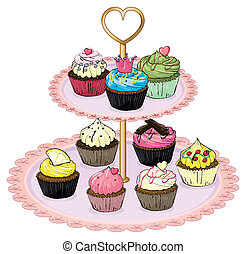 A cupcake tray with cupcakes