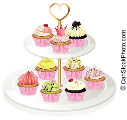 A cupcake tray with pink cupcakes