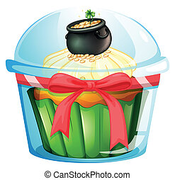 A cupcake with a pot of coins - Illustration of a cupcake...