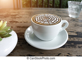 cups of mocha coffee on table - A cups of mocha coffee on...