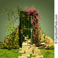 A Curious Entrance - a curious entrance with vines and...